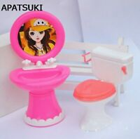 Doll Accessories Plastic Wash Basin Toilet Set For Barbie Dollhouse DIY Kids Toy