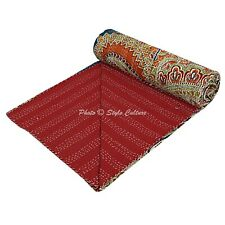 Indian Quilt Coverlet Queen Cotton Printed Bedspread Paisley Kantha Quilts