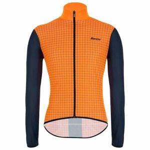 Nebula Windbreaker Cycling Jacket by Santini in Orange