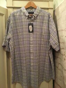 Roundtree & Yorke Mens 2XL Cooler Comfort Plaid Seersucker Button Down Shirt