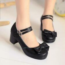 Womens Girls Sweet Bowknot Lolita Chunky Heel Mary Janes Pumps Dress Shoes US7