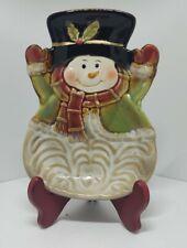 Vintage Christmas holiday kitchen Snowman ceramic  spoon rest/Trinket dish