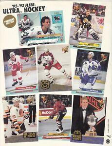 1992 Ultra Hockey Dealer PROMO SHEET - Premiere Edition - Pavel Bure +