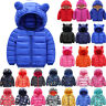 Kids Baby Puffer Jacket Winter Down Coat Outwear Warm Hooded Coats Windbreaker