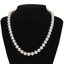 "8-9mm AAA Freshwater White Pearl 18"" Necklace w/ 14k Solid White Gold Clasp"