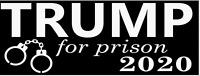 Trump For Prison 2020 Black Bumper Sticker Decal - Anti Donald Trump