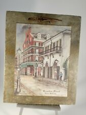 Vintage Print On Roofing Slate by Archie Boyd ~ New Orleans Bourbon Street