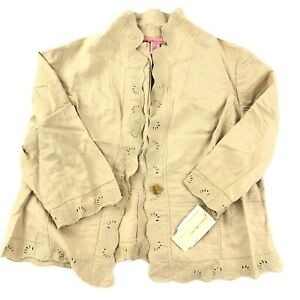 NWT Vintage Bandolino Linen Jacket Womens 16W Sand Beige Lace Embroidered