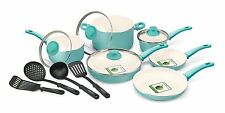 GreenLife Soft Grip 14pc Ceramic Non-Stick Cookware Set Turquoise