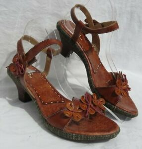 SPRING STEP TARRAGON Brown Leather Floral Sandals Shoes 42 US 10 10.5 EUC