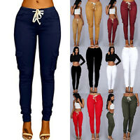 Womens Drawstring Skinny Jeans Pencil Cargo Pants Stretchy High Waist Trousers