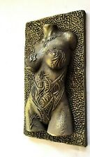 Girl Dragon Tattoo Brass Nude Erotic Female Torso Sculpture Wall Hanging Front