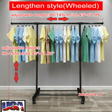 Double Bar Rod Adjustable Heavy Duty Hanger Clothes Hanger Rolling Garment Rack