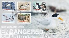 Stamps 2014 New Zealand endangered birds set of 5 on official FDC