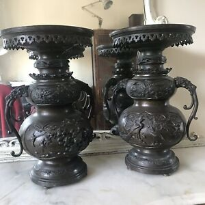 Stunning Very Rare Bronze Japanese Censors Late 18th Century, Signed Base Lamps