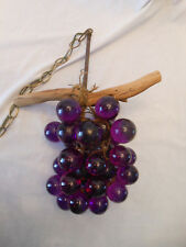 VTG retro acrylic lucite purple grape cluster driftwood swag hanging lamp light