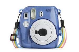 Hard Glitter Case for Fuji Instax Mini 8/9 Cobalt Blue + Strap