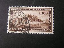 *ITALY, SCOTT # 518, 100l. VALUE BROWN 1949 CENTENARY ROMAN REPUBLIC ISSUE USED