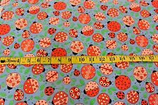 Ladybugs & Leaves Toss Allover Blue Cotton Flannel Fabric BTY