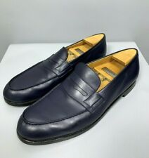 J.M. WESTON 180 Penny Loafers Size 10 A Narrow Men's Blue Leather Moccasin Shoes