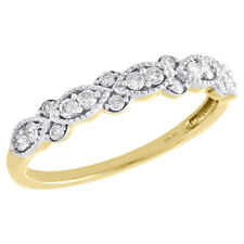 Stackable Right Hand Ring 1/4 Ct. 10K Yellow Gold Diamond Teardrop Milgrain Edge