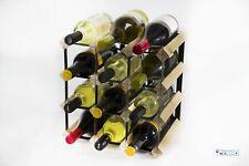 Cranville wine rack storage 12 bottle pine wood and black metal assembled