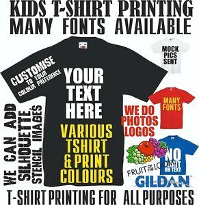 Kids Custom Printed T shirts Text Personalised Photo Party Children Fun Tshirt
