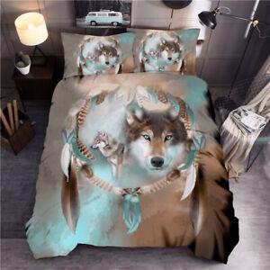 3D Animals Print Wolf 3Pcs Duvet Covers Bedding Sets Pillowcase Zipper Bedroom