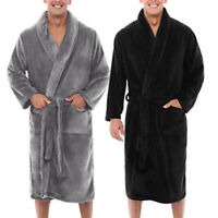 Mens Winter Warm Fluffy Plush Shower Bathrobe Towelling Bath Robe Dressing Gown