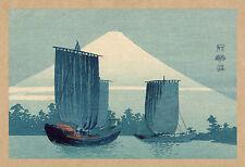 Japanese Print Reproductions: Konen: Sailboats and Mount Fuji:  Fine Art Print