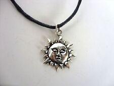 Una Nueva Cera Cordón De Plata Tibetana Flaming Sol encanto colgante collar