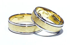 2 x 585 Wedding Rings Yellow Gold Engagement Partner White BICOLOUR