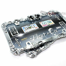 2 Fleur de lis Metal Chrome License Plate Tag Frames for Auto-Car-Truck