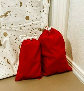 Reusable Cloth Gift Bag Red Organic Cotton Fabric Valentines Christmas Birthday