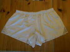 Vintage off white Silky Satin Shorts with lace inset to sides Size 12 Bnwot