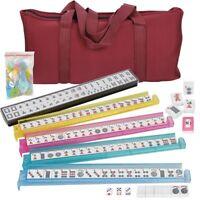 Portable American Mahjong Western Mah jong 166 Tiles Set w/ 4 Color Pusher