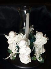 Christmas Harmony Centerpiece Angel Choir White Poinsettia Candle Holder