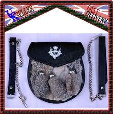 Triple Chardon SEMI Costume Sporran gris lapin fourrure CHROME Chardon 3 pompons