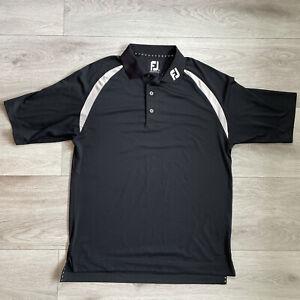 Footjoy Prodry Lisle Polo Shirt Size Medium Black Short Sleeve Golf Top