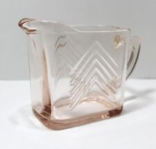 Pink Glass Rectangle Cream Pitcher 3 Inches High