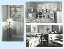 3 Mystery Cards Cabin Interior Minocqua Wisconsin Real Photo Postcard RPPC