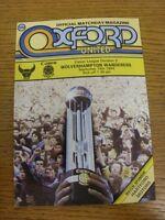 19/09/1984 Oxford United v Wolverhampton Wanderers  . Footy Progs (aka bobfranka