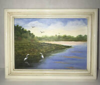 """Landscape River Painting 6.5x5"""" Acrylic Original Wood Framed Signed Dated 1994"""