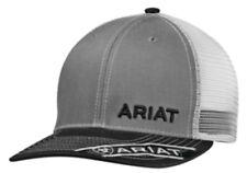 d90fc67017b Ariat Mens Hat Baseball Cap Mesh Snapback Adjustable Gray Black 1501106