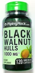 1000mg Black Walnut Hulls Extract 120 Capsules Herbal Parasite Bacteria Cleanse