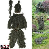 5PCS 3D Camouflage Woodland Camo Ghillie Suit Set 3D Jungle Forest Hunting Suit