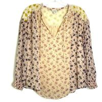 Joie Silk Chiffon Floral Print Blouse Womens Size Small Tyla Flowy Peasant Boho