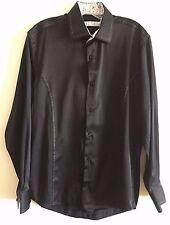 Republic of Couture Shirt Long Sleeve Flip Cuff Tack Stitch Black Men's L NWOT