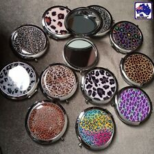 Leopard Folding Round Pocket Compact Makeup Cosmetic Mirror Portable JMIRR 0201