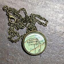 ELBLAG LEBA GDYNIA GDANSK DANZIG POLAND Map Pendant Bronze necklace ATLAS